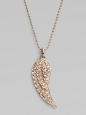 Sydney Evan Diamond & 14K Rose Gold Wing Necklace