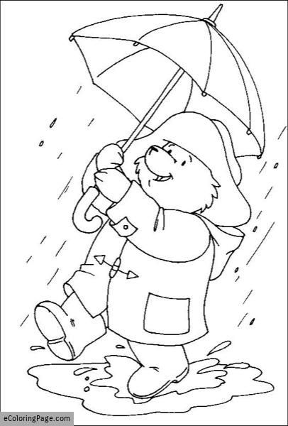 Walking In The Rain Paddington Bear Free Coloring Page With