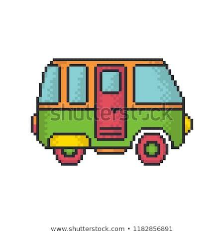 Retro minivan pixel art style vector icon on white