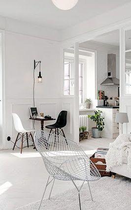 Via My Scandinavian Home | White | Eames | Bertoia Diamond Chair |  APARTMENT INTERIORS | Pinterest | Interiors, Living Rooms And Room