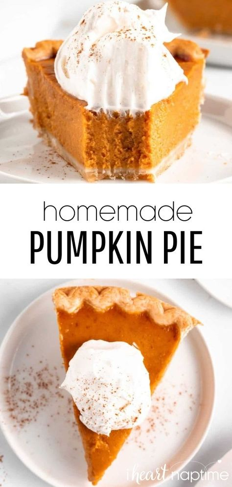 This homemade pumpkin pie is super smooth and velvety with the perfect blend of spices. An easy and delicious holiday dessert that will be the star of your Thanksgiving dinner! #pumpkin #pumpkinpie #pumpkinrecipes #pumpkindesserts #thanksgiving #thanksgivingrecipes #thanksgivingdesserts #pie #pies #pierecipes #homemade #recipes #iheartnaptime