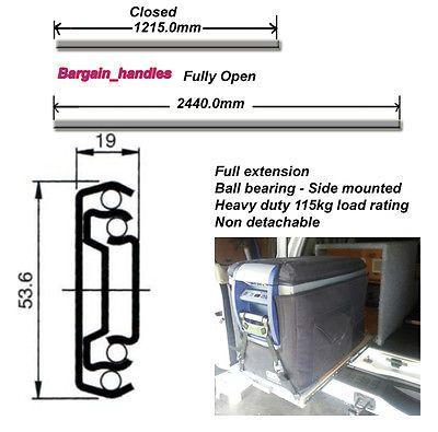 4wd 1200mm Fridge Drawer Runners Slides Heavy Duty 115kg Full Extension 4wd