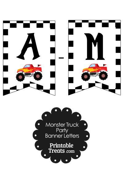 Monster Truck Birthday Party Ideas Printables 62 Ideas In 2020 Monster Truck Birthday Monster Trucks Banner Letters