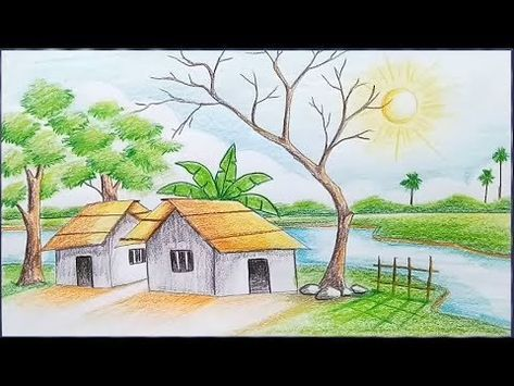 How To Draw Landscape With Oil Pastel Step By Step Very Simple Easy Youtube Landscape Drawings Nature Drawing Pictures Drawing Scenery