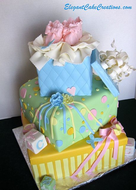 Baby Shower Stacked Gift Boxes Cake by Elegant Cake Creations AZ, via Flickr