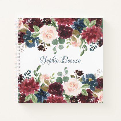 Burgundy Blue Watercolor Flowers Border Notebook Zazzle Com
