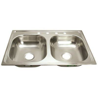 Proplus Gidds 2474256 4 Hole Double Bowl Kitchen Sink For Mobile Homes 20 Gauge Stainless Steel 33 X 19 X Double Bowl Kitchen Sink Sink Double Kitchen Sink