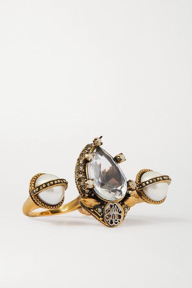 Alexander Mcqueen Gold Tone Crystal And Faux Pearl Two Finger