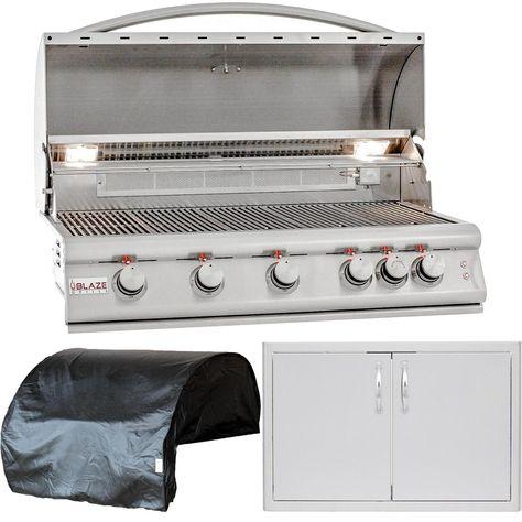 Blaze Outdoor Products Lte 3 Piece 40 Propane Gas Outdoor Kitchen Package Blz 5lte2 Lp 5bicv Blz Ad40 R Outdoor Kitchen Design Built In Grill Storage Spaces