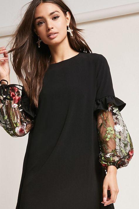 Floral Lantern-Sleeve Dress