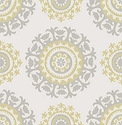 Nuwallpaper Nu1652 Grey And Yellow Suzani Peel Stick Wallpaper Amazon Com Nuwallpaper Suzani Peel And Stick Wallpaper