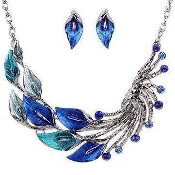 QIYUN.Z Women Twisted Drop Tibet Silver Turquoise Blue Bead Pendant Chain Necklace Earring Set