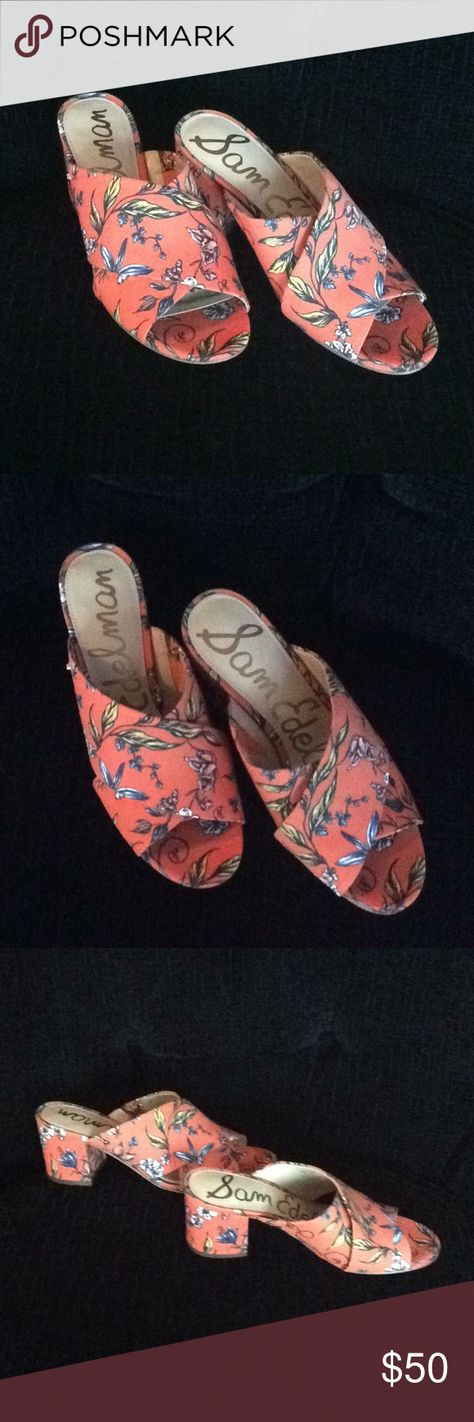 528f74676f35 Sam Edelman  STANLEY  Floral Mules! Adorable orange floral mules. Worn  once. 2.5