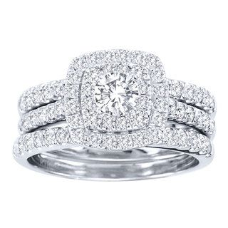 De Couer 10k White Gold 1 2ct TDW Diamond Double Halo Bridal Ring Set H I I2