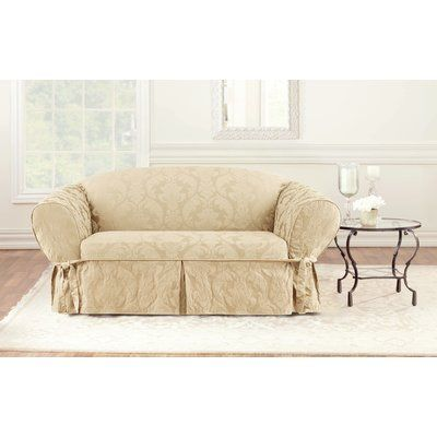 Sure Fit Matelasse Damask Box Cushion Loveseat Slipcover Loveseat Slipcovers Furniture Love Seat