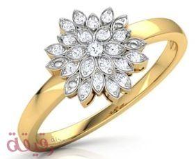 صور خواتم ذهب رقيقة أجمل كولكشن من الذهب الممزوج بالألماس والمرصع بالفصوص Floral Rings Jewelry Rings