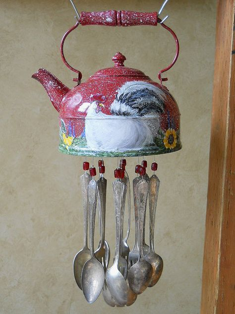 Red Rooster - Old Tea Kettle Upcycled into a Windchime