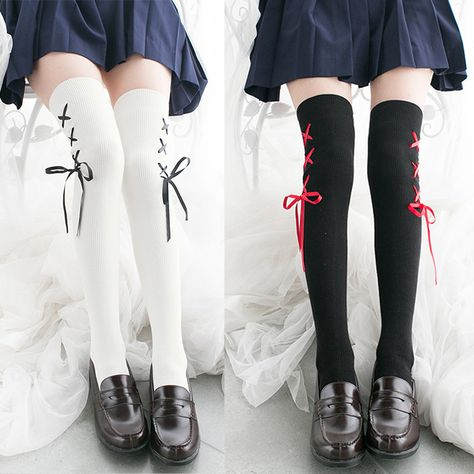 Sweet Laced Up Thigh High Socks sold by Noirlu. Shop more products from Noirlu on Storenvy, the home of independent small businesses all over the world. Harajuku Fashion, Kawaii Fashion, Cute Fashion, Tokyo Fashion, Fashion Goth, Girls Knee High Socks, Girls Socks, Thigh High Socks Outfit, Black Thigh High Socks