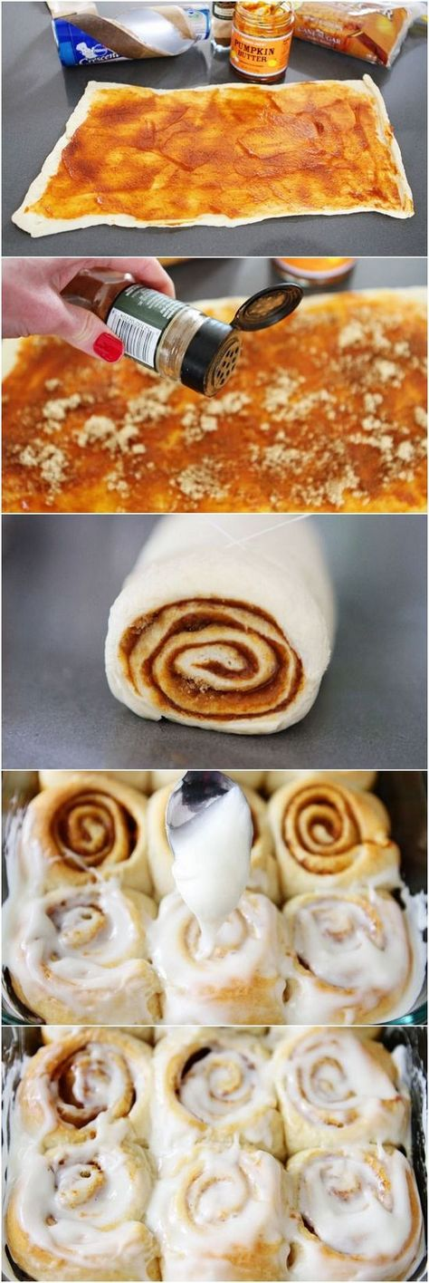 Easy Mini Pumpkin Cinnamon Rolls [Roll out one Pilsbury creations seamless dough sheet; Cover Sheet in Pumpkin butter; Sprinkle with cinnamon, brown sugar, and pumpkin pie spice; Roll sheet up; Cut into slices; Cook on greased baking sheet at 375 degrees for 18 minutes; Cover with cream cheese frosting]