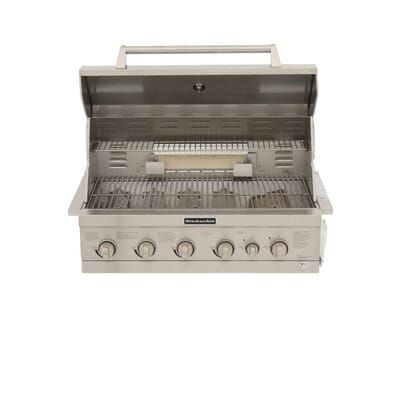Kitchenaid 4 Burner Built In Propane Gas Island Grill Head In Stainless Steel With Searing Main Burner And Rotisserie Burner 740 0781 The Home Depot Heating Systems Kitchen Aid Outdoor Kitchen Island