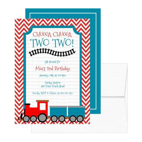 Chugga Two Train Birthday Party Invitation Invitations Invite