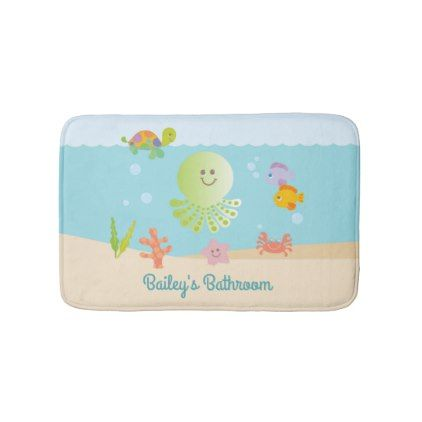 Under The Sea Kid S Bathroom Bath Mat Zazzle Com Bathroom Bath