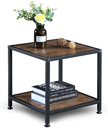 New Greenforest End Table Storage Shelf 2 Tier Metal Frame Side Table Living Room Bedroom Easy Assembly Walnut Online Shopping In 2020 Living Room Side Table Metal Side Table End Tables