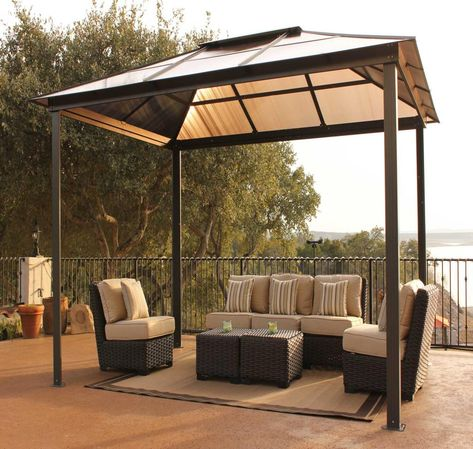 Backyard Canopy Gazebo Design In Minimalist Outdoor With Rattan Furniture View Awning Shelters