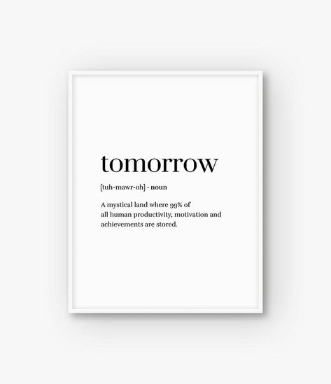 Funny Print Word Definition Print Funny Poster Tomorrow | Etsy