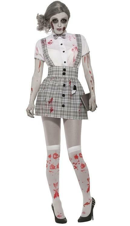 d642563e30b Ladies Zombie School Girl Halloween Sexy Fancy Dress Costume 10-14 ...
