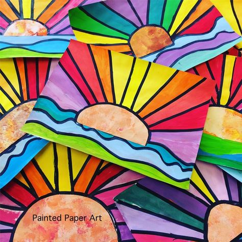 The sun will come out! Do you need to reintroduce a warm and cool concept in a colorful way? Here is a fun lesson that incorporates line and color. My students really enjoy creating these ad
