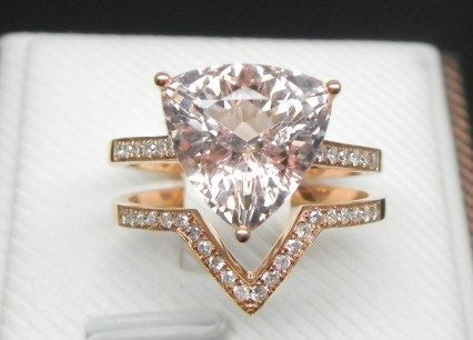 Engagement Ring Set 3 Carat Morganite With By Stevejewelry