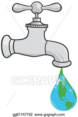 Cartoon Water Faucet Drawing Vector Clipart Leaking Faucet The Earth Planet Dro Vector Royalty Free Tap Water C Water Faucet Faucet Save Water Poster Drawing