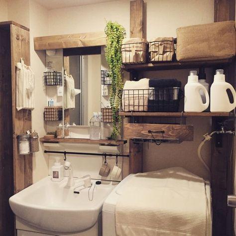 備付の洗面台でもお洒落に バスルームのインテリアデザイン 収納
