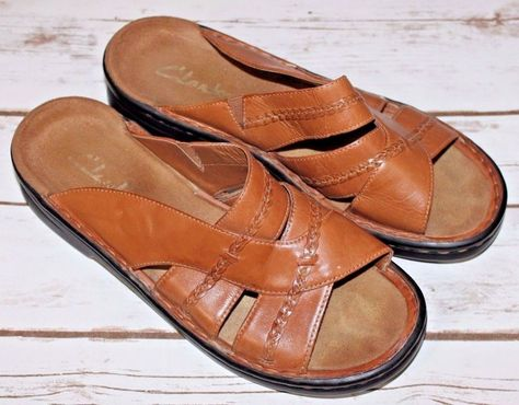 Clarks Size 8W Women's Brown Leather Slides Slip On Sandals