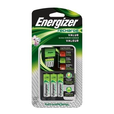 Energizer Recharge Value Charger For Nimh Rechargeable Aa And Aaa Batteries Rechargeable Batteries Energizer Battery Energizer