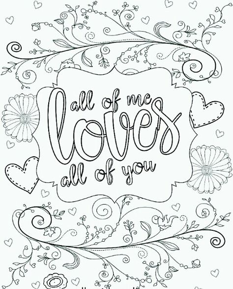 All Of Me Loves All Of You Colouring Book Page Perfect For
