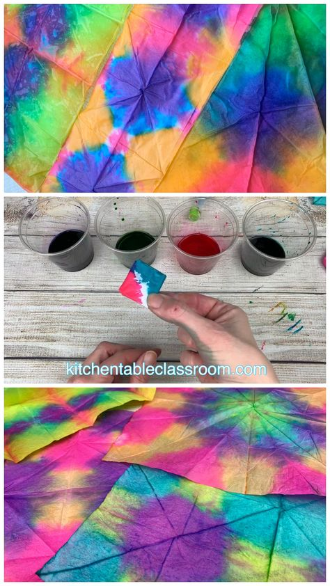 Try this easy tie dye method using food coloring and tissue paper to create brilliant, unique designs.