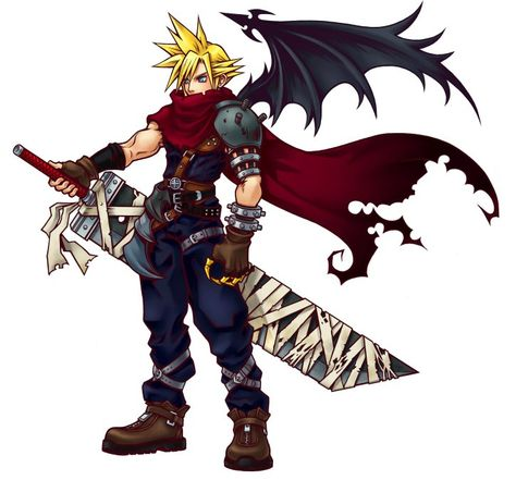 Cloud Strife Official Art Kingdom Hearts Outfit Final