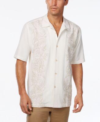 Tommy Bahama Men's Verdara Vines Floral-Embroidered Silk Short-Sleeve Shirt  | macys.com