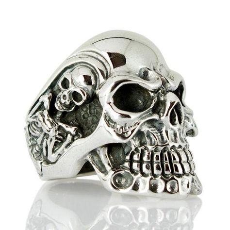 Silver Skull Ring Sterling Silver Men's Rings Gothic | Etsy