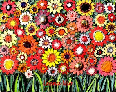 Leena S Flowers Kukat Fleurs Flower Fields Champs Des Fleurs Mosaic Flowers Mosaic Crafts Tree Mosaic