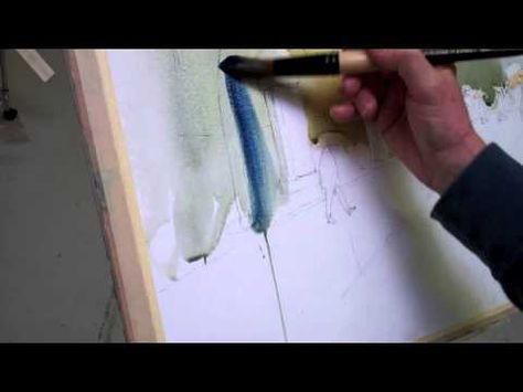 """Art League instructor Peter Ulrich demonstrates how to paint watercolor in a limited palette. In this demonstration for his class """"The Watercolor Experience,"""" he uses three colors: Daniel Smith Indanthrone Blue, Da Vinci Cadmium Red Light, and Winsor & Newton Raw Sienna. (Part 1)"""