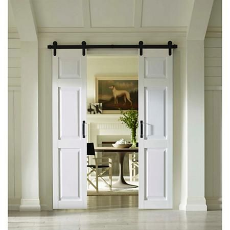 Four Seasons Outdoor Products Split Barn Door Classic 6 Panel In White Select Sizes Sam S Club White Barn Door Glass Barn Doors White Paneling