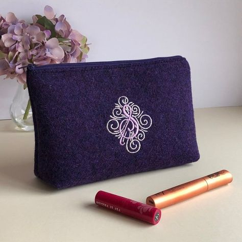e1b59271f9 Monogrammed Harris Tweed make up bag