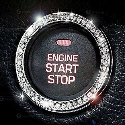 New Car SUV Button Start Sticker Switch Silver Diamond Ring Bling Decorative UK