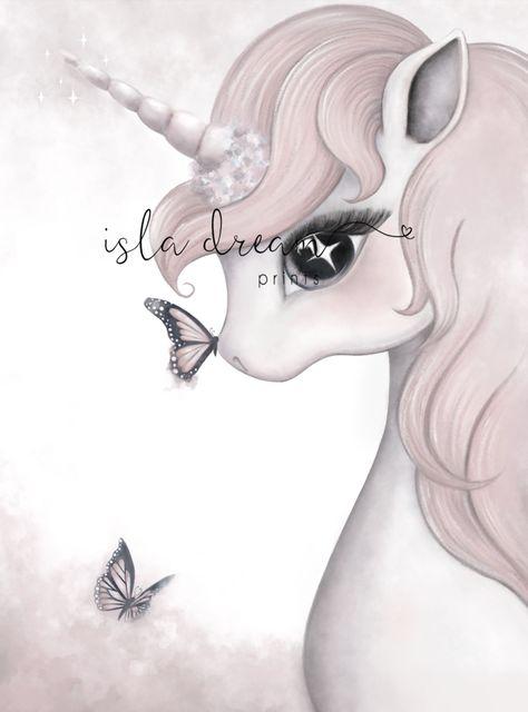 Wall Print Frame - Rose , Unicorn (A4)