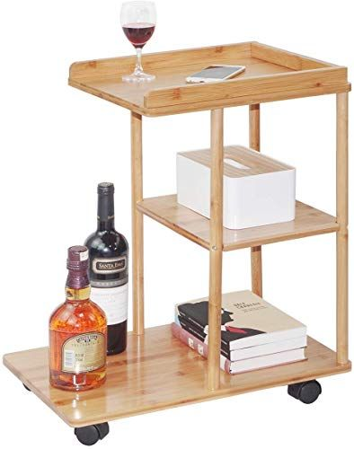 New Bamboo Rolling Sofa Side Table Mobile Snack Coffee Tray End Table With Wheels For Living Room Bedroom Small Spa In 2020 Sofa Side Table End Tables Sofa Snack Table