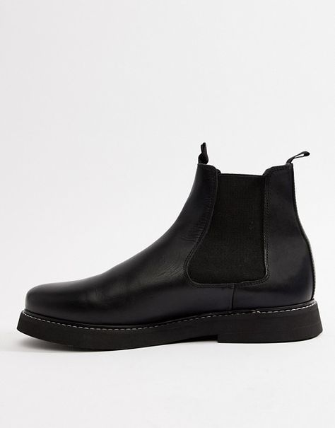 ff14e3e9ee61 DESIGN Wide Fit chelsea boots in black leather with chunky sole в ...