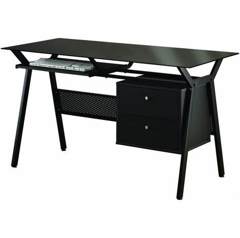 Schwarze Glas Computer Schreibtisch Luxus Home Office Mobel Eine Der